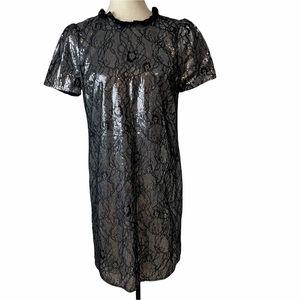 NWT Michael Kors Black & Silver Sequins Dress M